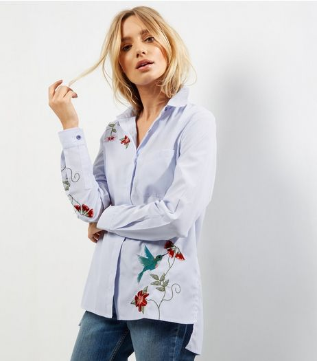 Blue Stripe Floral Embroidered Shirt  | New Look