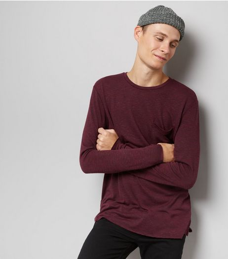 Burgundy Fine Knit Pocket Front Jumper | New Look
