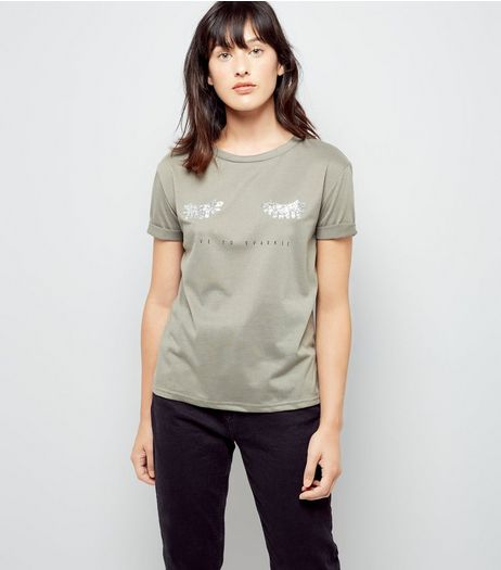 Cameo Rose Green Live To Sparkle Print T-Shirt | New Look