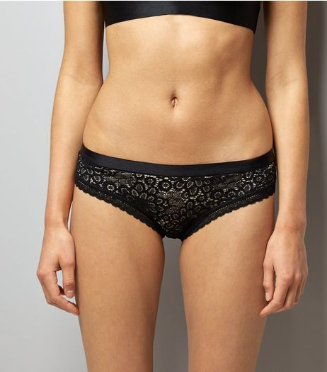Black Floral Lace Brazilian Briefs | New Look