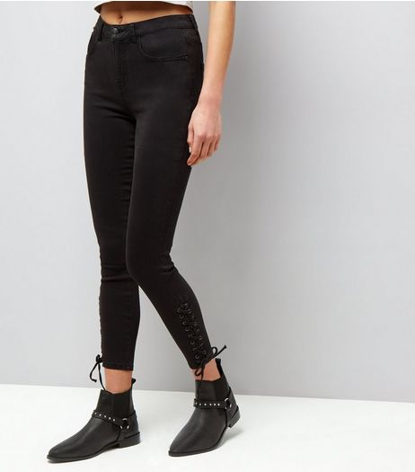 Black Lace Up Side Skinny Jenna Jeans | New Look
