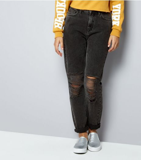 Teens Black Ripped Knee Mom Jeans | New Look