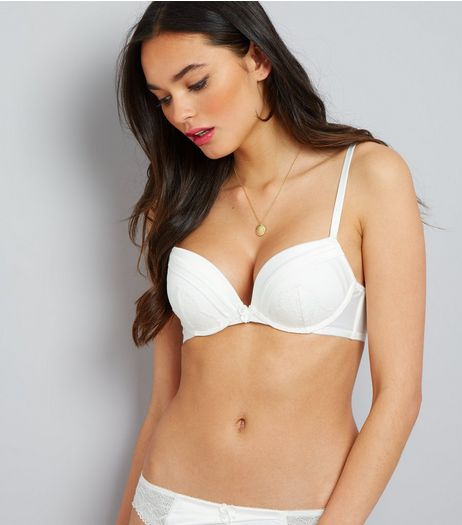 Cream Cuffed Satin Lace Trim Push Up Bra | New Look