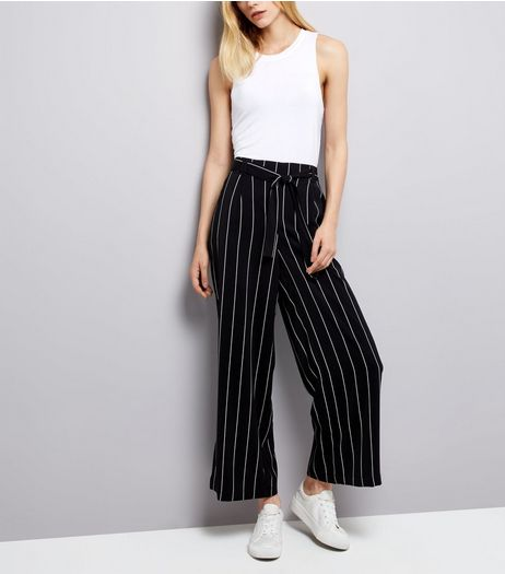 Black Stripe Tie Waist Wide Leg Trousers | New Look