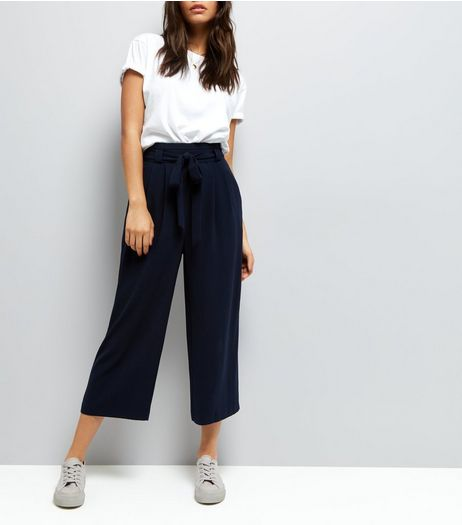 Navy Tie Front Culottes  | New Look
