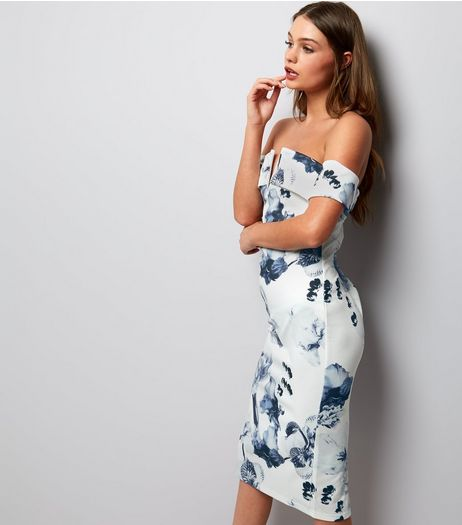 Parisian Whte Floral Bardot Bodycon Dress | New Look