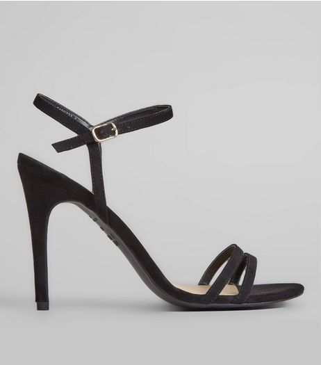 Black Suedette Heeled Sandals | New Look