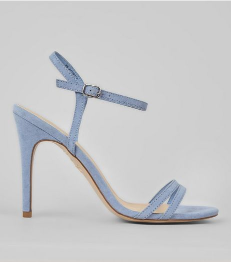 Pale Blue Suedette Double Strap Heeled Sandals | New Look