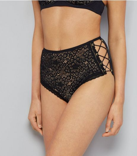 Black Floral Lace Lattice Side High Wiast Briefs | New Look