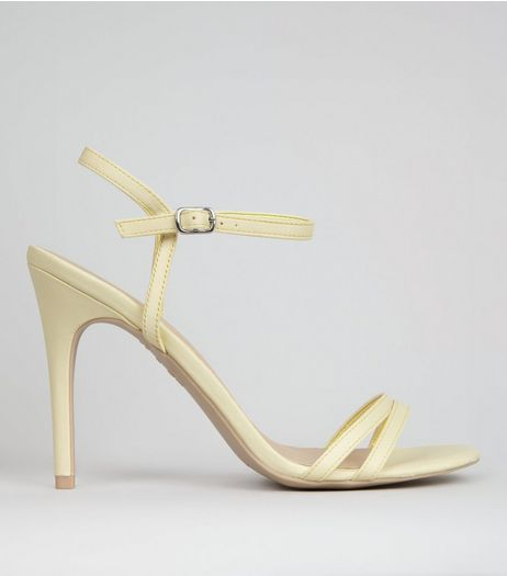 Yellow Double Strap Front Heeled Sandals | New Look