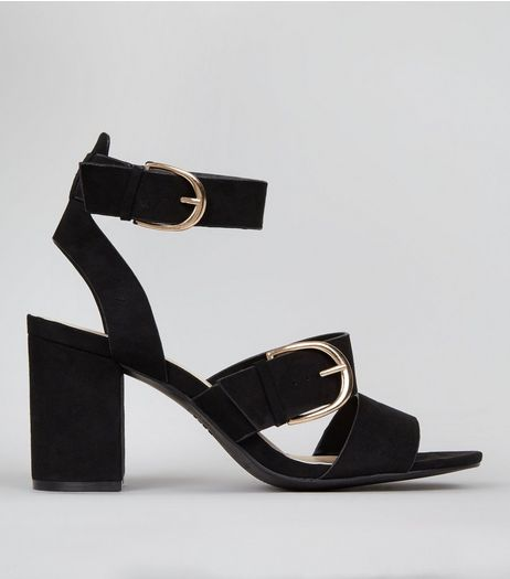Black Suedette Multi Strap Chunky Block Heels | New Look