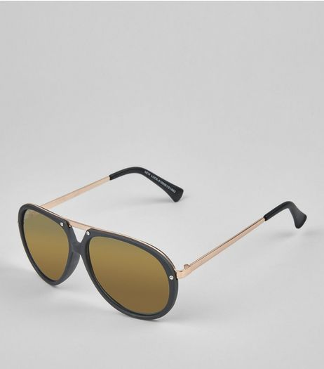 Black T Bar Aviator Sunglasses | New Look