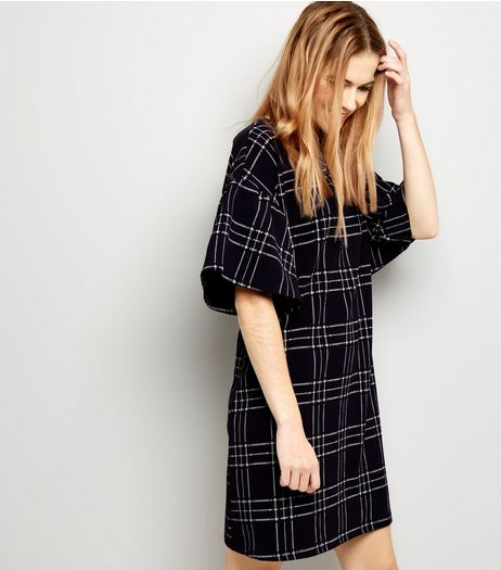 Navy Check Print Bell Sleeve T-Shirt Dress | New Look