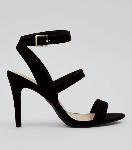 Black Comfort Suedette Triple Strap Heeled Sandals | New Look