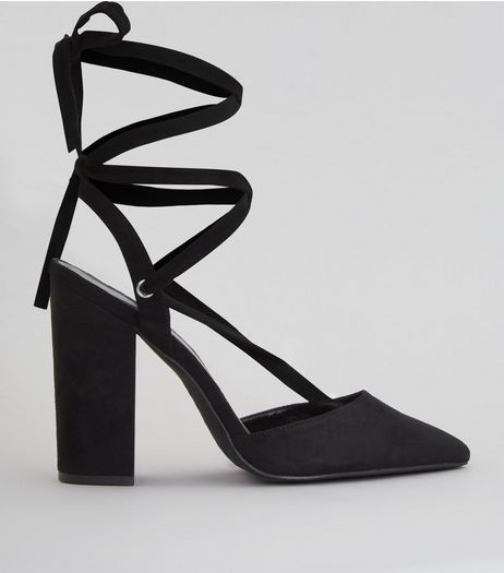 Black Suedette Tie Up Pointed Heels | New Look