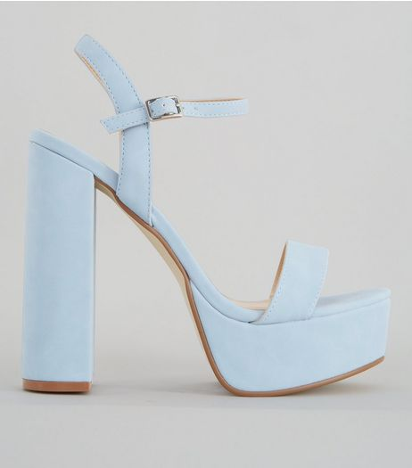 Pale Blue Platform Heel Sandals | New Look
