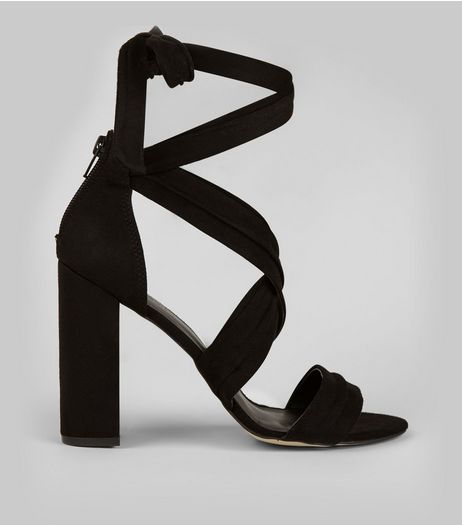 Black Suedette Ankle Tie Block Heels | New Look