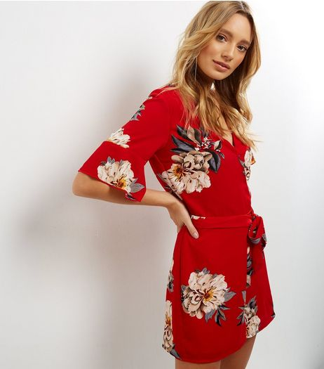 Parisian Red V Neck Floral Playsuit | New Look