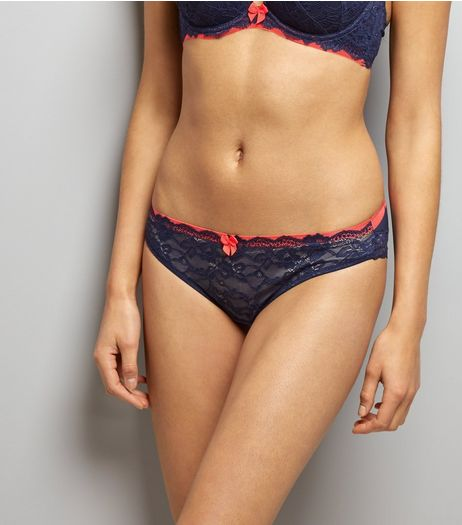 Navy Lace Contrast Band Brazilian Briefs | New Look