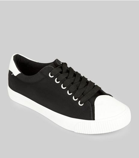 Black Contrast Toe Trainers | New Look
