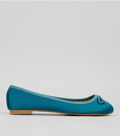 Blue Satin Ballet Pumps | New Look