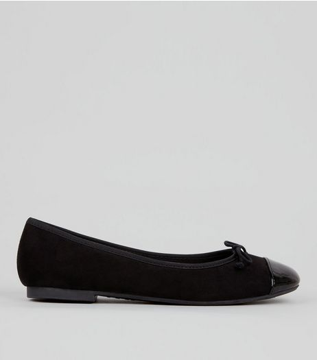 Black Suedette Patent Toe Cap Ballet Pumps | New Look