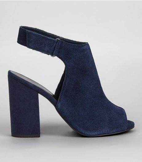 Navy Suede Peep Toe Sling Back Block Heels | New Look