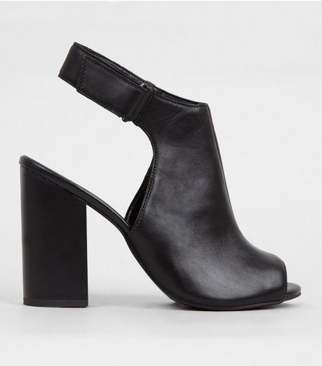 Black Leather Elasticated Sling Back Heels | New Look