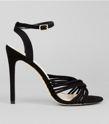 Black Suedette Strappy Heeled Sandals | New Look