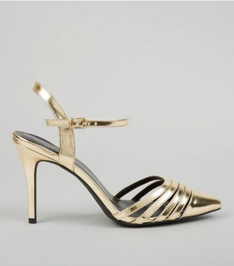 Gold Metallic Pointed Ankle Strap Heels | New Look