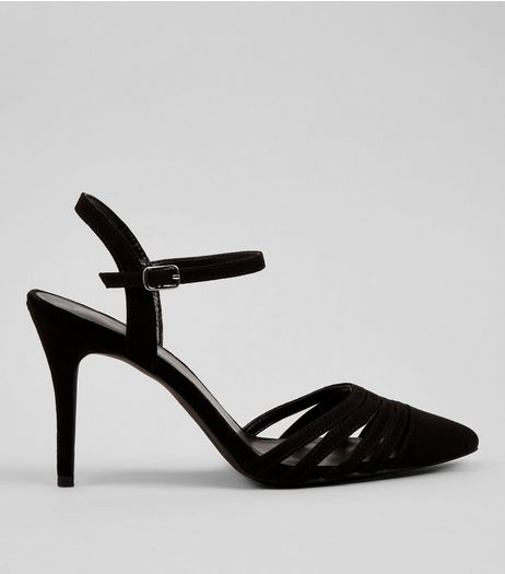 Black Multi Strap Pointed Toe Heels | New Look