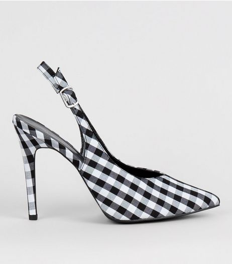 Black Gingham Pointed Sling Back Heels | New Look