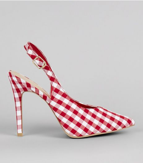 Red Gingham Pointed Sling Black Heels | New Look