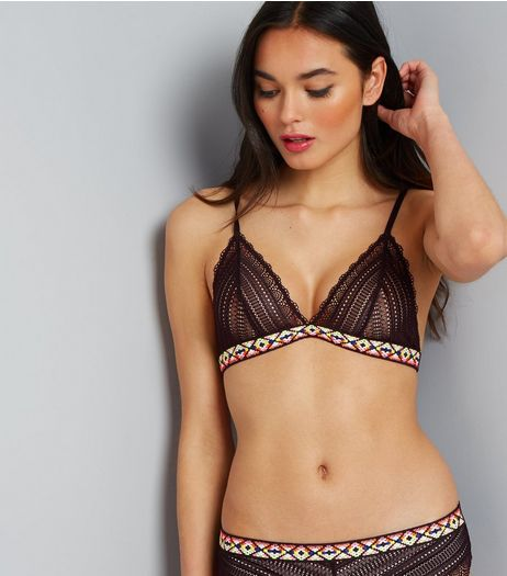 Black Embroidered Aztec Lace Bralet | New Look