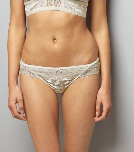Cream Lace Trim Velvet Thong | New Look