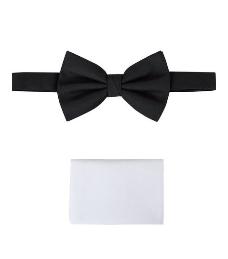 Black Bow Tie And Pocket Square Set | New Look