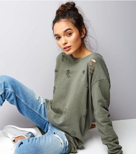 Cameo Rose Olive Green Ripped Sweater  | New Look