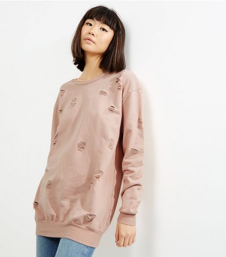 Cameo Rose Pink Ripped Sweater | New Look