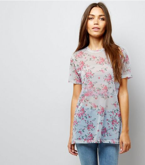 Carpe Diem Cream Mesh Floral Print T-Shirt  | New Look