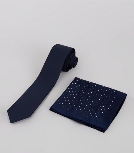 2 Pack Navy Tie and Pin Dot Hanky | New Look