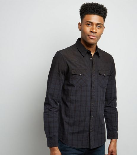 Navy Check Ombre Long Sleeve Shirt | New Look