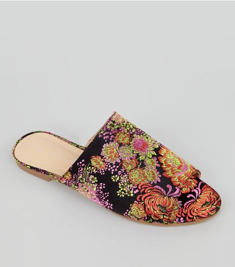 Black Floral Brocade Mules | New Look