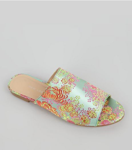Pale Green Floral Brocade Mules | New Look