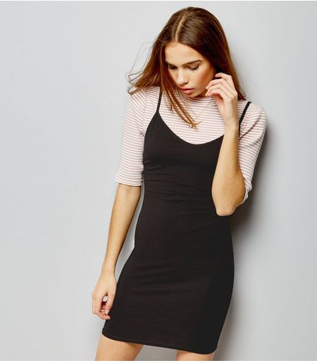 Black Strappy Bodycon Dress | New Look
