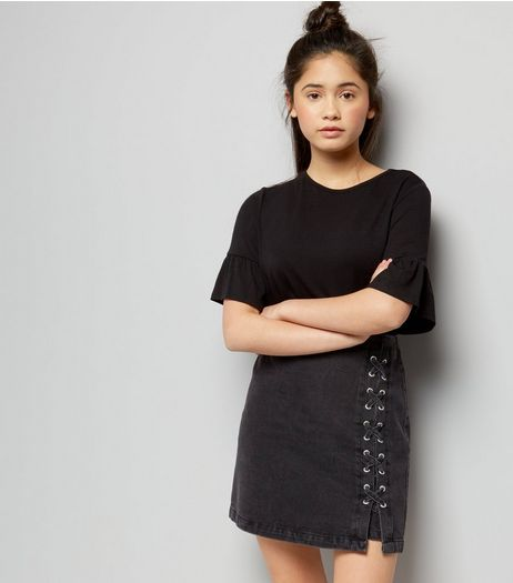 Teens Black Denim Lace Up Side Skirt | New Look