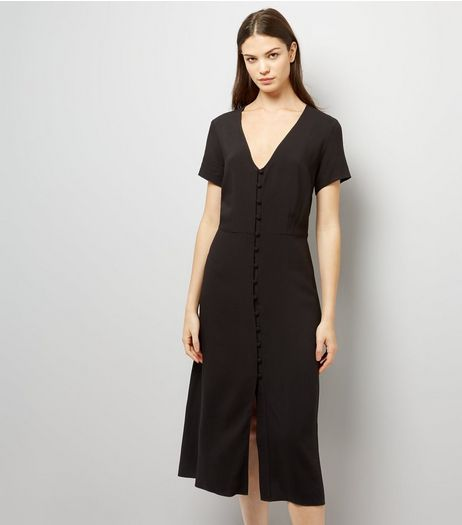 Black V Neck Button Front Midi Dress | New Look
