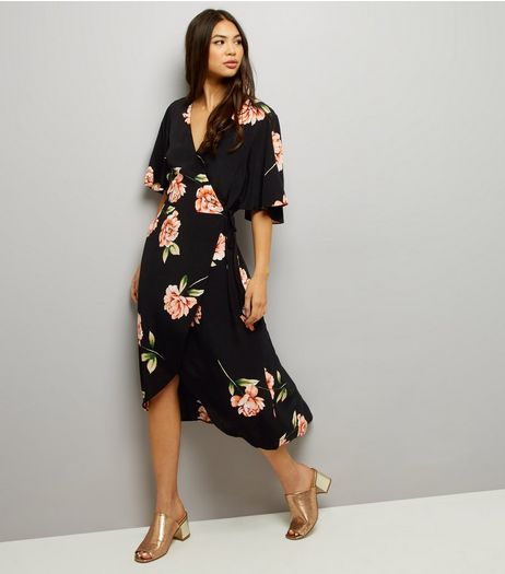 Black Floral Print Wrap Front Maxi Dress | New Look