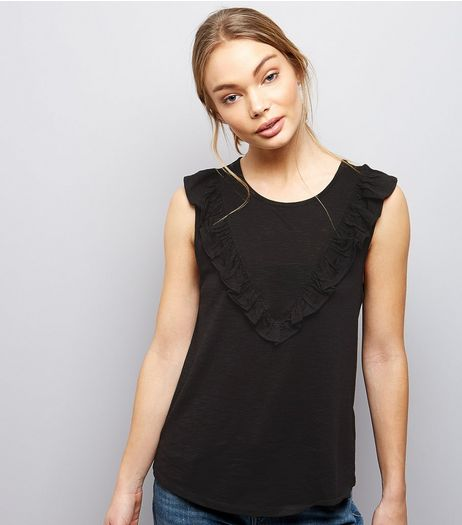 Black Chevron Frill Trim Sleeveless Top  | New Look