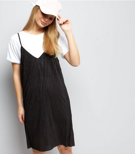 Black Textured Mini Slip Dress  | New Look