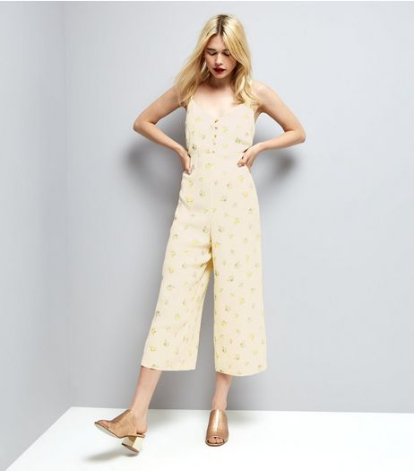Pale Yellow Floral Print Jumpsuit | New Look